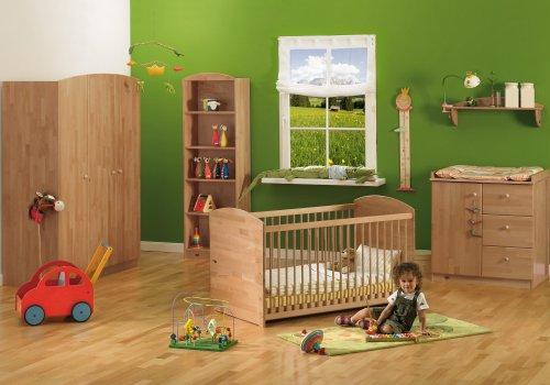 Herlag H1969-901 Kinderzimmer Anna Buche massiv, lackiert, Kinderbett inklusiv Umbauseiten, Wickelkommode, Kleiderschrank 3-türig