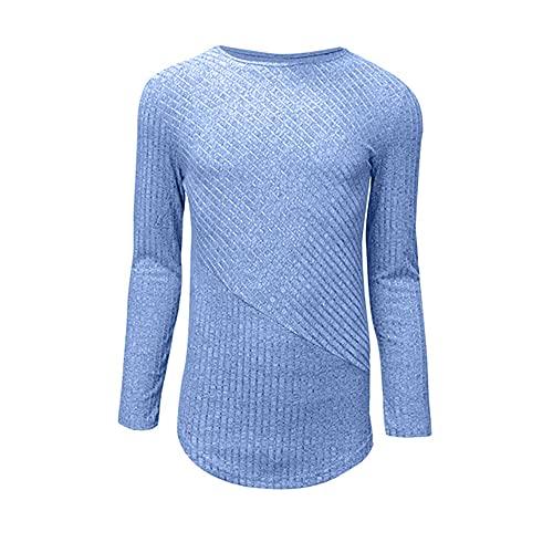 N\P Hombres Otoño Primavera Inicio Colores Al Aire Libre Manga Larga Camisetas Casual, Azul / Patchwork, Large