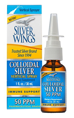 Natural Path Silver Wings Ultimate Immune Support Colloidal Silver 50PPM Vertical Spray 1 fl. oz, Golden Yellow (CSNS)