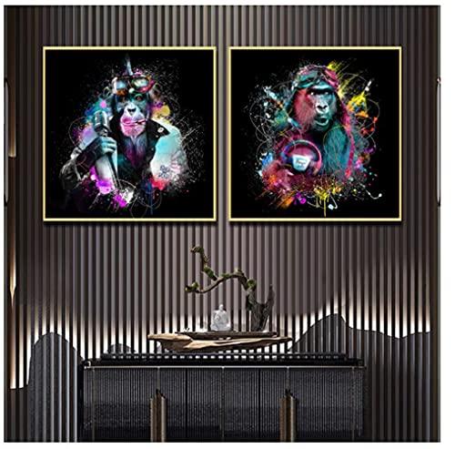 Divertido colorido Star Monkey Graffiti Art Canvas Painting en los carteles de pared e impresiones Imágenes de animales para la decoración de la sala de estar 50x50cm (19.6x19.6in) x2