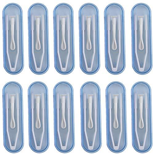 Kontaktlinsen Pinzetten und Saugnapf-Set, 12 Stücke, Kontaktlinsenentferner(Weiße Farbe), Klein und handlich, Stick sind, Inserter Remover für Reisen, Beauty Brille, Bunte Contact Lens Tweezers