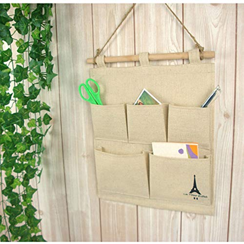 EliteKoopers 1 bolsa para colgar en la puerta de la pared, 5 bolsillos, para guardar artículos en el hogar