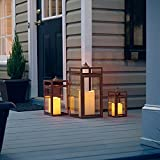 Pebble Lane Living Indoor & Outdoor Hanging Bristle Candle Lanterns, Powder Coated Frame & Tempered Glass Panes, Brown, Assorted Set of 3