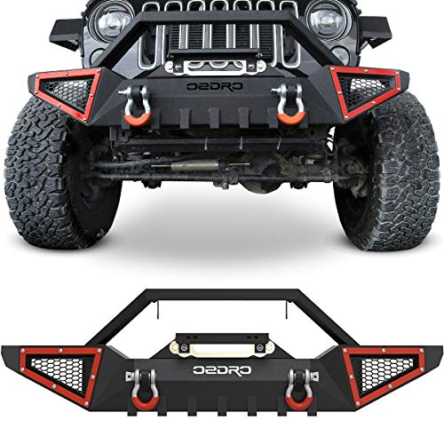 OEDRO Front Bumper Compatible with 2007-2018 Jeep Wrangler JK & Unlimited JKU (2/4 Doors), Rock Crawler Off Road Full Width Bumper with Winch Plate Mounting & 2 x D-Rings