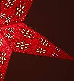 Faltbarer Advents Leucht Stern aus Papier, Weihnachtsstern Anubis rot / Papierstern 5 Zacken - 6