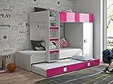 Etagenbett für Kinder TOLEDO 2 Stockbett mit Treppe und Bettkasten KRYSPOL (Weiß + Rosa Glanz)