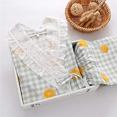 CDDKJDS Pijama tradicional de algodón fino y suave, transpirable, con estampado de fresa (color: set 3, tamaño: XL)