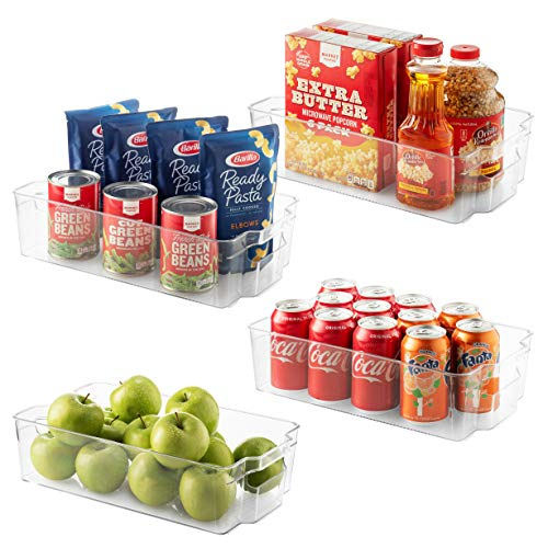 """Set Of 4 Refrigerator Organizer Bins - Stackable Fridge Organizers for Freezer, Kitchen, Countertops, Cabinets - Clear Plastic Pantry Storage Rack - Food Storage Bins with Handle 14.5"""" Long"""
