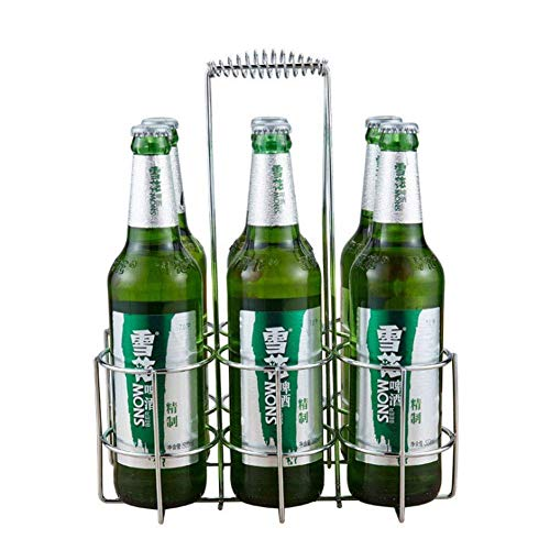 Vrijstaande Wijnrek Bier Rack Carrier Bier Fles Opslag Houder Organizer Remote Bier Krate/Carrier Metalen Transportation Frame Voor 6 Bierblikjes Goede Helper In De Keuken Zilver