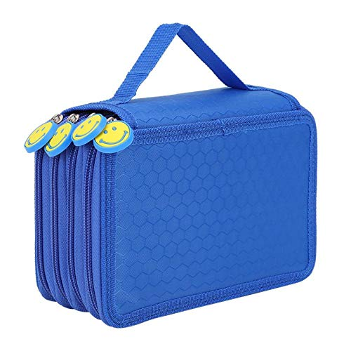 Estuche para lápices 4 capas Estuche para lápices Oficina de artistas de maquillaje para escuela de viajes(blue)
