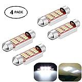 Haichen Lot de 4LED navette blanc pour éclairage de voiture 36–41mm, ampoule LED navette anti-erreur 401412 smd pour...