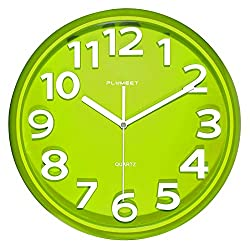 Plumeet 13'' Large Wall Clock - Silent Non-Ticking Quartz Wall Clocks for Living Room Decor - Modern Style Suitable for Home Kitchen Office - Battery Operated (Green)
