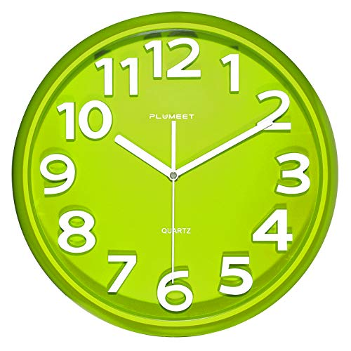 Reloj de Pared Grande de 33 cm, Relojes de Plumeet Decorativos de Cuarzo silencioso Que no Hace tictac, Gran Pantalla de números tridimensionales, con Pilas (Verde)