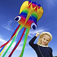 HONBO Huge Rainbow Soft Octopus Kite for Kids and Audlts- Large Kite with Long Tail and 200ft line---Easy to Fly kites…