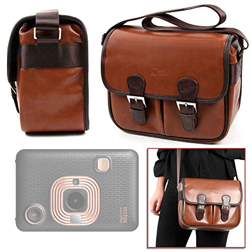 DURAGADGET Bolsa Profesional marrón con Compartimentos Compatible con Cámara Fujifilm Instax Mini LiPlay, Hasselblad X1D II 50C, Olympus Tough TG-6