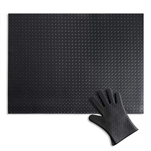Uperla Premium 10lbs Under Grill Mat – Matte Black Finish – 3mm Thick Outdoor Protection – Comes with Heat Resistant BBQ Glove – 36 x 48 inches