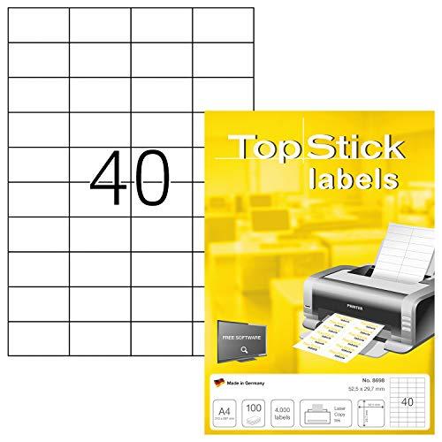 TopStick 8698 Universal Etiketten DIN A4 klein (52,5 x 29,7 mm, 100 Blatt, Papier, matt) selbstklebend, bedruckbar, permanent haftend Adressaufkleber, 4.000 Klebeetiketten, weiß
