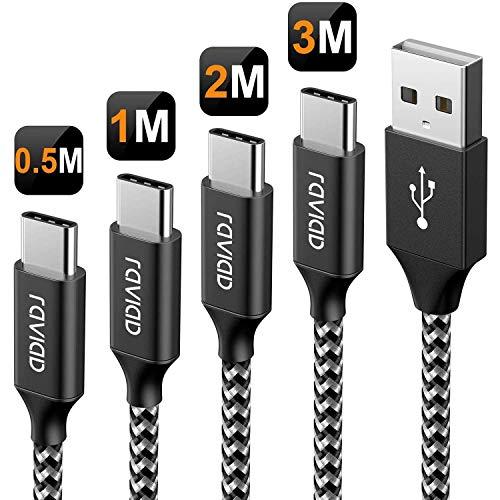RAVIAD USB Typ C Kabel, [4Pack 0.5M 1M 2M 3M] Nylon Typ C Ladekabel und Datenkabel USB C Schnellladekabel für Samsung Galaxy S10/S9/S8+, Huawei P30/P20, Google Pixel, Sony Xperia XZ, OnePlus 6T