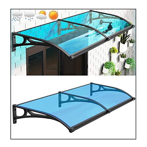 RZEMIN Marquesina para Puertas Ventanas, Toldo Superior Impermeable para Puerta Entrada Ventana Protección UV Refugio Porche Patio Aire Libre, Tamaño Múltiple (Color : Blue, Size : 60cmx150cm)