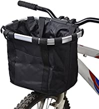 Lixada Bike Basket, Small Pet Cat Dog Carrier Bicycle Handlebar Front Basket - Folding Detachable Removable Easy Install Quick Released Picnic Shopping Bag, Max. Bearing: 22lbs