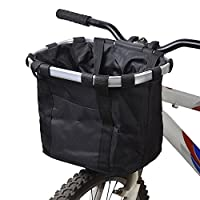 【 High-quality and Durable 】 Hard-wearing oxford cloth for durability. Aluminum alloy frame is sturdy and unbreakable & Woven canvas construction, super durable and tear-proof. Max. bearing: 5KG/11lbs. 【 Use Multi-purpose】The multi-purpose front bicy...