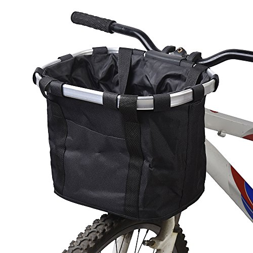 Lixada Bike Basket, Small Pet Cat Dog Carrier Bicycle Handlebar Front Basket - Folding Detachable Removable Easy Install Quick Released Picnic...