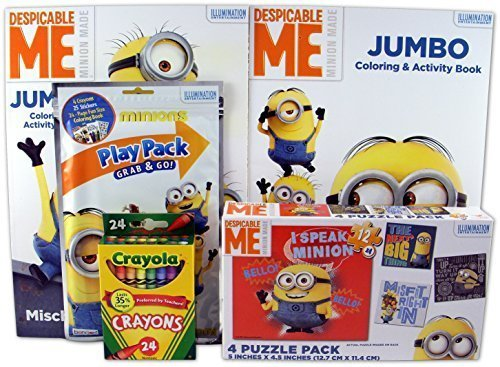 Despicable Me Bundle - 5 Items Minions 4-Puzzle Pack, 2 Coloring and Activity Books, Minions Grab & Go Play Pack, Pack of 24 Crayola Crayons