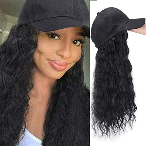 SO-buts Black Baseball Hat Hair Extension Wig Long Corn Wave Synthetic Hair Extensions Cap Hair Wigs Real Natural Black Hat for Women (Black)