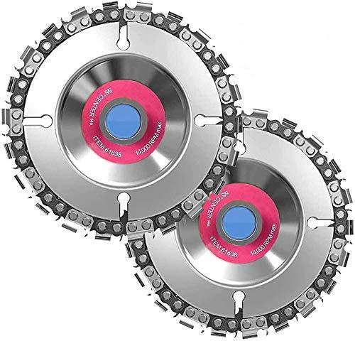 2 discos para tallar madera para amoladora angular, discos de corte de 100 mm x 16 mm, discos de sierra de cadena de 22 dientes, disco ranurado para dar forma y cortar