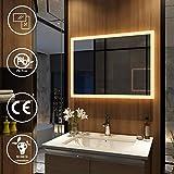 EMKE Wandspiegel Badezimmerspiegel LED Badspiegel mit Beleuchtung 80x60cm Warmweiß 3000K
