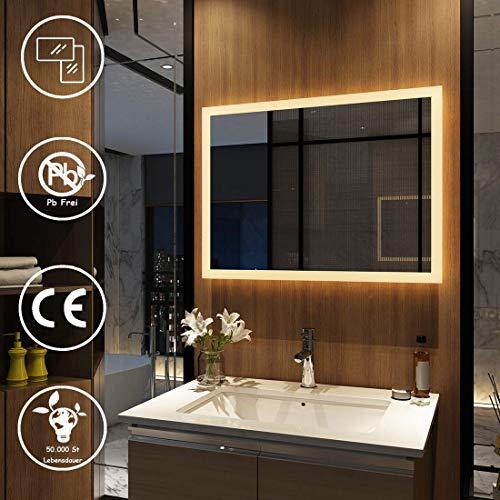 Meykoers Wandspiegel Badezimmerspiegel LED Badspiegel mit Beleuchtung 80x60cm Warmweiß 3000K, Spiegel mit Beleuchtung Lichtspiegel durch Wand-Schalter