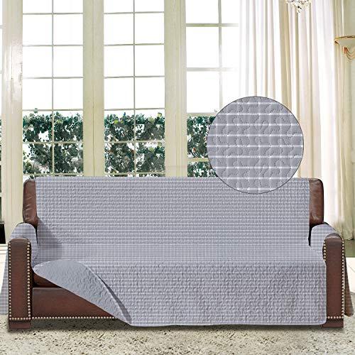 softan Sofa-Schonbezug mit Elastiken und Bändern für 3 Sitzer, Sofa Überwürfe mit Aufbewahrungstaschen,Schutz vor Haustieren, Schmutz, und Verschleiß (Dreiersitzer, Plaid/Grau)