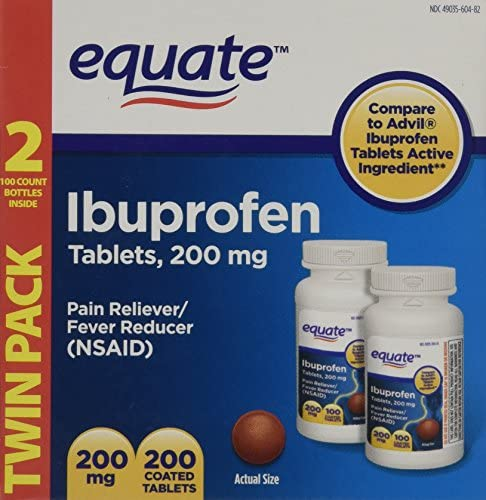 Equate Ibuprofen Pain Reliver Fever Reducer 200 mg 100 Coated Tablets in 2 Pack product image