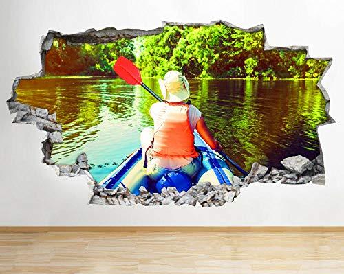 Pegatinas de pared Kayak River Summer Forest Smashed Wall Decal 3D Art Stickers Habitación de vinilo adesivi da parete camera da letto 70 * 100cm