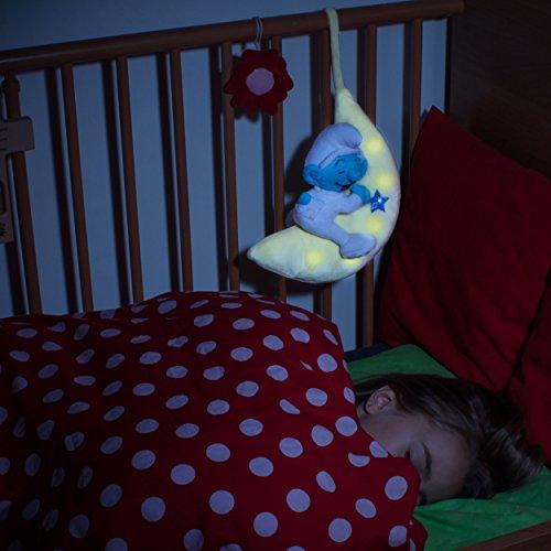 ANSMANN LED-Mondnachtlicht Schlumpf / Niedliche Einschlafhilfe zum Kuscheln mit Schlummerliedfunktion & sanftem Licht für ruhigen Tiefschlaf / Kuschelweiches 2-in-1 Plüschtier für Babys & Kleinkinder - 8