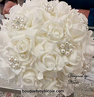 Made to order Brooch Bouquet Wedding Bridal Flowers Real Touch Roses Bride Bridesmaids JAMIE