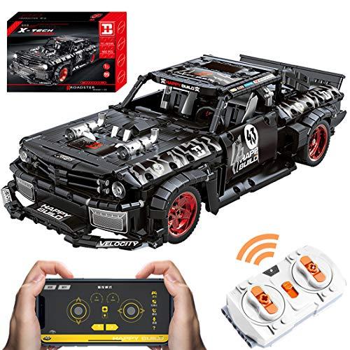 PEXL Juego de construcción de bloques de construcción para Ford Mustang Sportwagen, Technic RC coche de carreras con mando a distancia y motores, 1600 bloques de montaje compatibles con Lego Technic