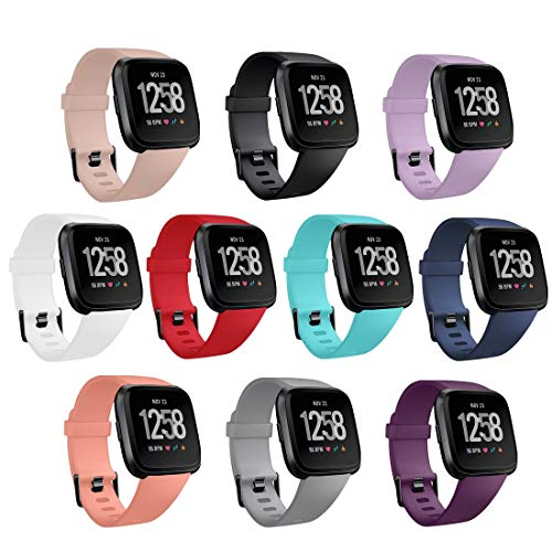 GinCoband 10PCS Fitbit Versa 2 Bands Replacement Compatible with Fitbit Versa/Versa 2/Versa Lite/SE for Women Men (10-Pack, Large)