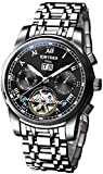 Aquaasian KINYUED Automatic Mechanical Chronograph 3ATM Water-Resistant Genuine Silver Black Stainless Steel Strap
