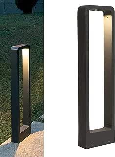 JUNOLUX Gate Metal Bollard LED Landscape Outdoo Lighting Landscape Warm Light Aluminum Pathway Black Lawn Lights Waterproof