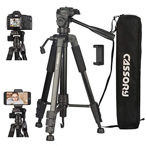 Kamerastativ 59-Zoll, 5 kg Stativ für Kamera und Telefon, Leichter Aluminium-Universal-Videokamerastativständer mit Tragetasche, Schnellwechselplatte, Telefonhalter, Videostativ für Reisen, Vlog