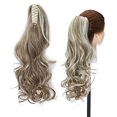 Artiglio di prolunga per capelli coda di cavallo Clip dritto ondulato in parrucchino Un pezzo una mascella lunga code da pony per le donne 18 ricci - marrone scuro chenghuax