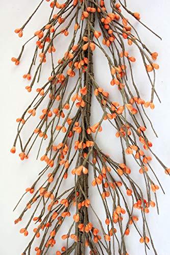 Evron International AR1956C-4 Primitive Pip Berry Garland - 5' / 5 FT / 60' - Orange Color Berry