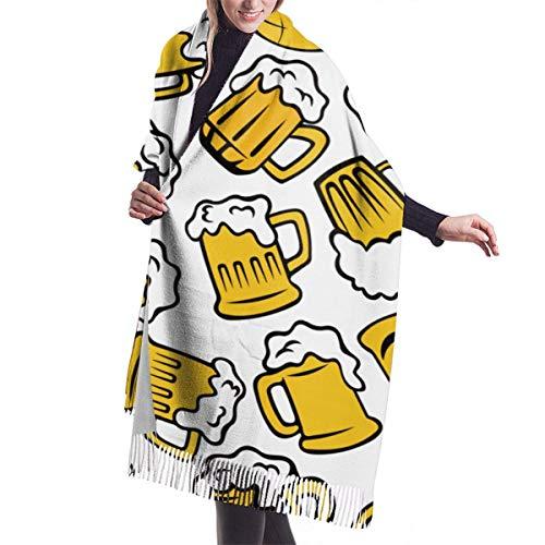 Warmer Halstuch,Kaschmirtuch,Übergroßer Weicher Schultertuch,Unisex Kaschmir Schal,Cartoon Bier Glas Schal Wrap Mit Quaste, Weiche Schals Wraps, Für Party Hochzeit