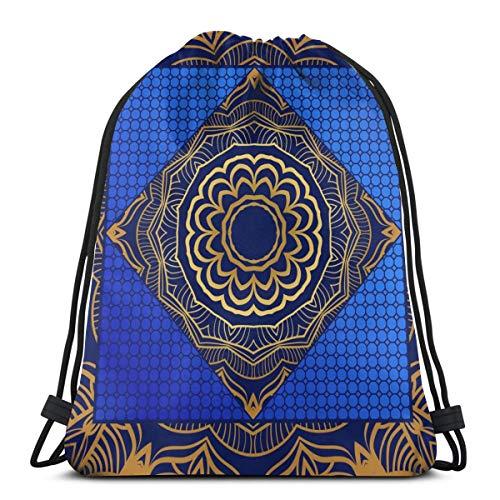 N/D Carré Mode Mandala Floral Motif Femmes Fille Art Cordon Sac à Dos Sac à Dos Poutre Bouche Gym Sac Sac à Bandoulière pour Hommes et Femmes