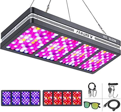 FAMURS SAMSUM COB X3 Series 3000W Triple Chips LED Grow Light Full Spectrum Reflector Grow Lamp with Veg and Bloom Switches for Indoor Plants Seeding Veg and Flower.