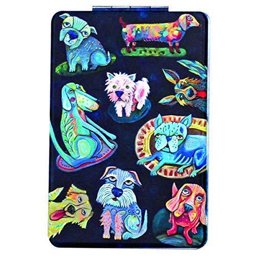Allen Designs [Q1987] - Miroir de poche 'Allen Designs' noir multicolore (chiens) - 8.5x5.5 cm