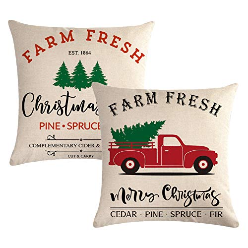 7COLORROOM Set of 2 Farmhouse Christmas Decor Pillow Covers with Farm Fresh Christmas Tree Vintage Red Truck Pattern Cushion Cover Happy Holiday Home Pillowcases 20'×20' (20''x20'')