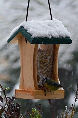 dobar 90061FSCe Futterspender Vogelhaus aus Holz für Wildvögel, 16 x 16 x 24 cm, grün - 3