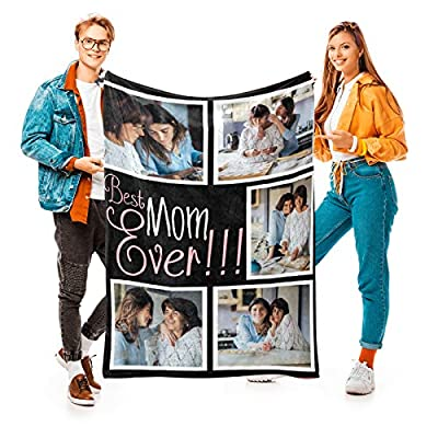 """Best Mom Ever Custom Blanket with 5 Photos Personalized Picture Blanket Customized Gifts for Mom Grandma for Birthday Mother's Day, 24 Colors Available, 32""""x48"""" from InkArtist"""